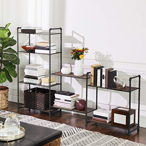 VASAGLE 5 Tier Storage Rack Customizable Industrial Extendable Plant Stand With Adjustable Shelves 251 X 12 X 51 Inches For Living Room Balcony Kitchen Rustic Brown And Black UBSC26BX 0 2