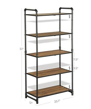 VASAGLE 5 Tier Storage Rack Customizable Industrial Extendable Plant Stand With Adjustable Shelves 251 X 12 X 51 Inches For Living Room Balcony Kitchen Rustic Brown And Black UBSC26BX 0 3 300x360