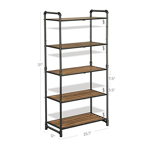 VASAGLE 5 Tier Storage Rack Customizable Industrial Extendable Plant Stand With Adjustable Shelves 251 X 12 X 51 Inches For Living Room Balcony Kitchen Rustic Brown And Black UBSC26BX 0 3