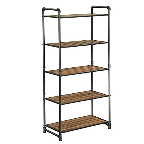 VASAGLE 5 Tier Storage Rack Customizable Industrial Extendable Plant Stand With Adjustable Shelves 251 X 12 X 51 Inches For Living Room Balcony Kitchen Rustic Brown And Black UBSC26BX 0