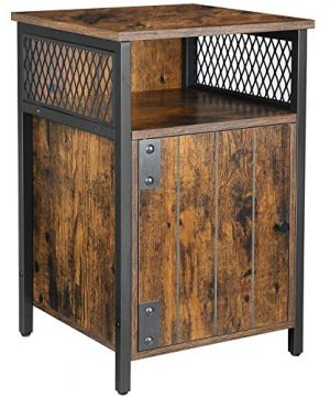 VASAGLE ALINRU Bedroom Nightstand With Open Shelf And Storage Cabinet Industrial Rustic Brown And Black ULET068B01 0 300x360