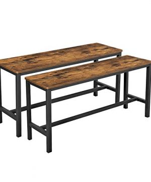 VASAGLE Dining Bench Table Bench SetPair Of 2 Industrial Style Indoor Benches 425 X 128 X 197 Inches Durable Metal Frame For Kitchen Dining Room Living Room Rustic Brown UKTB33X 0 300x360