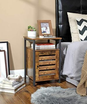 VASAGLE Lowell Nightstand Night Table With Open Shelf Inner Adjustable Shelf Steel Frame 157 X 157 X 236 Inches Bedroom Industrial Rustic Brown And Black ULET62BX 0 0 300x360