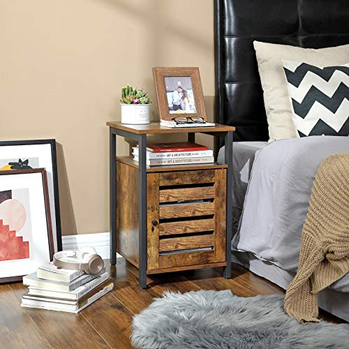 VASAGLE Lowell Nightstand Night Table With Open Shelf Inner Adjustable Shelf Steel Frame 157 X 157 X 236 Inches Bedroom Industrial Rustic Brown And Black ULET62BX 0 0