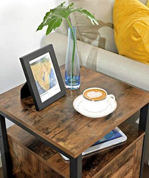 VASAGLE Lowell Nightstand Night Table With Open Shelf Inner Adjustable Shelf Steel Frame 157 X 157 X 236 Inches Bedroom Industrial Rustic Brown And Black ULET62BX 0 1 300x360