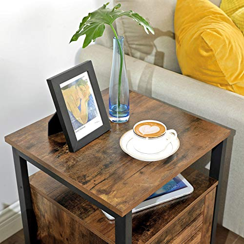 VASAGLE Lowell Nightstand Night Table With Open Shelf Inner Adjustable Shelf Steel Frame 157 X 157 X 236 Inches Bedroom Industrial Rustic Brown And Black ULET62BX 0 1