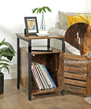 VASAGLE Lowell Nightstand Night Table With Open Shelf Inner Adjustable Shelf Steel Frame 157 X 157 X 236 Inches Bedroom Industrial Rustic Brown And Black ULET62BX 0 2 300x360