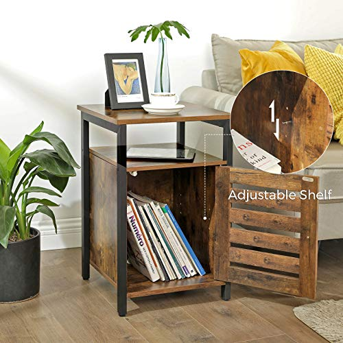 VASAGLE Lowell Nightstand Night Table With Open Shelf Inner Adjustable Shelf Steel Frame 157 X 157 X 236 Inches Bedroom Industrial Rustic Brown And Black ULET62BX 0 2