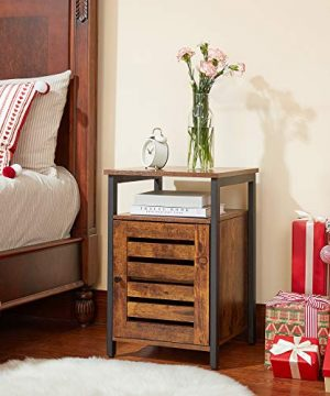 VASAGLE Lowell Nightstand Night Table With Open Shelf Inner Adjustable Shelf Steel Frame 157 X 157 X 236 Inches Bedroom Industrial Rustic Brown And Black ULET62BX 0 3 300x360