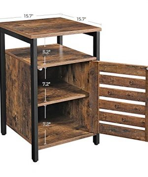 VASAGLE Lowell Nightstand Night Table With Open Shelf Inner Adjustable Shelf Steel Frame 157 X 157 X 236 Inches Bedroom Industrial Rustic Brown And Black ULET62BX 0 4 300x360