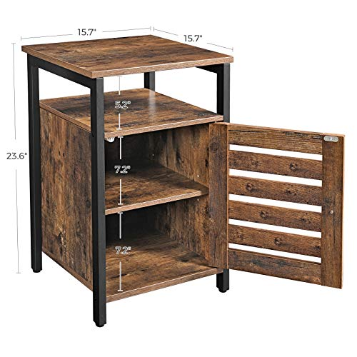 VASAGLE Lowell Nightstand Night Table With Open Shelf Inner Adjustable Shelf Steel Frame 157 X 157 X 236 Inches Bedroom Industrial Rustic Brown And Black ULET62BX 0 4
