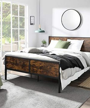 VASAGLE Metal Frame With Headboard Footboard No Box Spring Needed Under Bed Storage Queen Classic Rustic 0 0 300x360