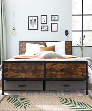 VASAGLE Metal Frame With Headboard Footboard No Box Spring Needed Under Bed Storage Queen Classic Rustic 0 1 300x360