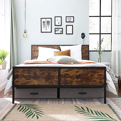 VASAGLE Metal Frame With Headboard Footboard No Box Spring Needed Under Bed Storage Queen Classic Rustic 0 1