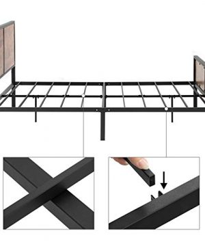 VASAGLE Metal Frame With Headboard Footboard No Box Spring Needed Under Bed Storage Queen Classic Rustic 0 3 300x360