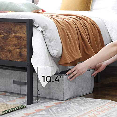 VASAGLE Metal Frame With Headboard Footboard No Box Spring Needed Under Bed Storage Queen Classic Rustic 0 4