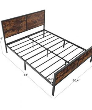 VASAGLE Metal Frame With Headboard Footboard No Box Spring Needed Under Bed Storage Queen Classic Rustic 0 5 300x360