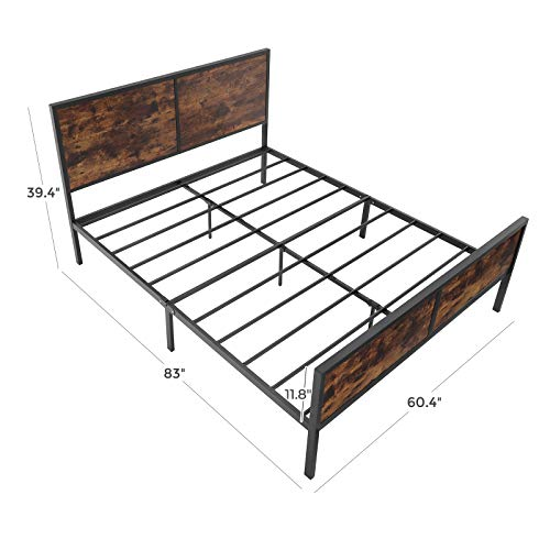 VASAGLE Metal Frame With Headboard Footboard No Box Spring Needed Under Bed Storage Queen Classic Rustic 0 5