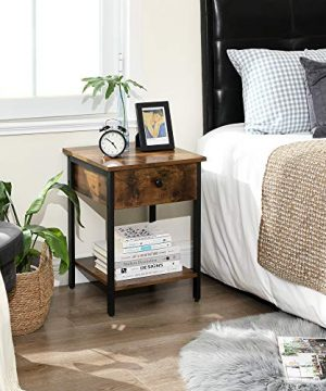 VASAGLE Nightstand End Table Side Table With Drawer And Shelf Bedroom Easy Assembly Steel Industrial Design Rustic Brown And Black ULET55BX 0 0 300x360