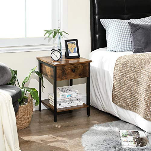 VASAGLE Nightstand End Table Side Table With Drawer And Shelf Bedroom Easy Assembly Steel Industrial Design Rustic Brown And Black ULET55BX 0 0