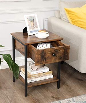 VASAGLE Nightstand End Table Side Table With Drawer And Shelf Bedroom Easy Assembly Steel Industrial Design Rustic Brown And Black ULET55BX 0 1 300x360