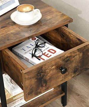 VASAGLE Nightstand End Table Side Table With Drawer And Shelf Bedroom Easy Assembly Steel Industrial Design Rustic Brown And Black ULET55BX 0 3 300x360