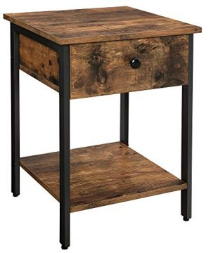 VASAGLE Nightstand End Table Side Table With Drawer And Shelf Bedroom Easy Assembly Steel Industrial Design Rustic Brown And Black ULET55BX 0 300x360