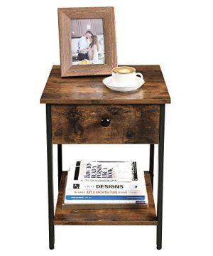 VASAGLE Nightstand End Table Side Table With Drawer And Shelf Bedroom Easy Assembly Steel Industrial Design Rustic Brown And Black ULET55BX 0 4 300x360