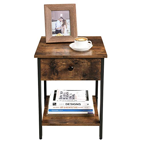 VASAGLE Nightstand End Table Side Table With Drawer And Shelf Bedroom Easy Assembly Steel Industrial Design Rustic Brown And Black ULET55BX 0 4