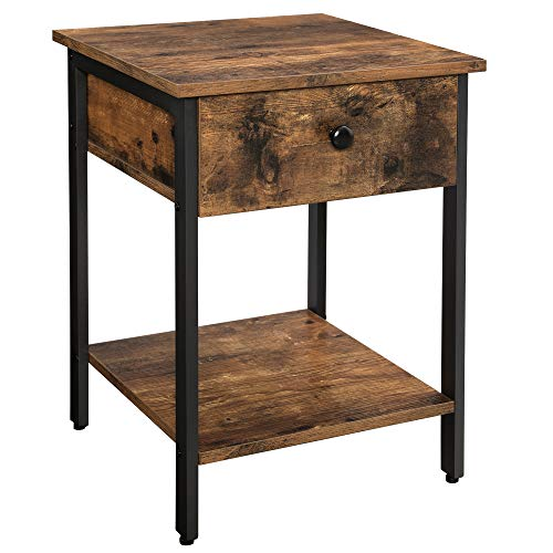 VASAGLE Nightstand End Table Side Table With Drawer And Shelf Bedroom Easy Assembly Steel Industrial Design Rustic Brown And Black ULET55BX 0