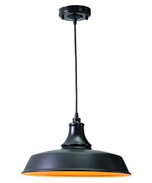 VAXCEL Farmhouse Indoor Outdoor Pendant Dorado Dark BronzeLight Gold Steel Shade Hanging Ceiling Light With Adjustable Cord Exterior Barn Light For Porch Patio Front Door Entryway Patio 0 300x360