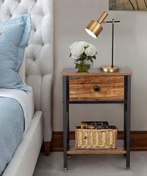 VECELO Modern Versatile Nightstands X Design Side End Table Night Stand Storage Shelf With Bin Drawer For Living Room Bedroom BrownBlack 0 300x360