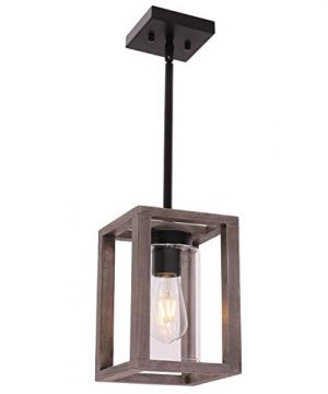 VINLUZ 1 Light Farmhouse Pendant Lighting Black Wood Accents Rustic Square Chandelier With Clear Glass Shade Contemporary Modern Kitchen Island Lights Fixtures Ceiling Hanging Dining Room Hallway 0 300x360