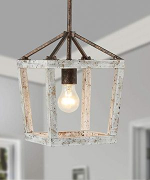 Vintage Farmhouse LightingDistressed White Wood Hanging Pendant Light For Dining Room Bedroom Foyer Entryway And Living Room UL Listed 0 300x360