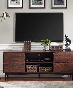 WAMPAT Wood Mid Century Modern TV Stand Rustic Walnut Television Stands Media Entertainment Center With Storage For TVs Up To 65 0 300x360