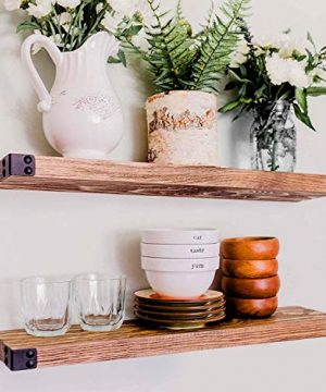 WG WILLOW GRACE DESIGNS Floating Shelves For Wall Mounted Modern Rustic All Wood Wall Shelves Perfect Farmhouse Shelves For Bathroom Bedroom And Kitchen Walnut 24 Set Of 2 0 300x360