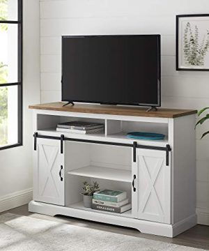 Walker Edison Clayton Farmhouse Sliding Double Barn Door TV Stand For TVs Up To 58 Inches 52 Inch Solid White 0 300x360
