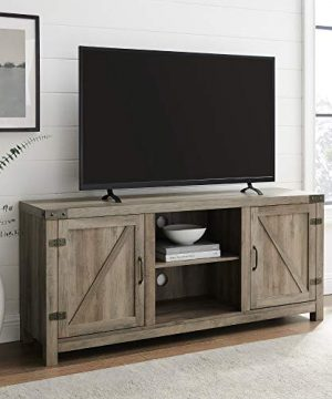 Walker Edison Georgetown Modern Farmhouse Double Barn Door TV Stand For TVs Up To 65 Inches 58 Inch Grey 0 300x360