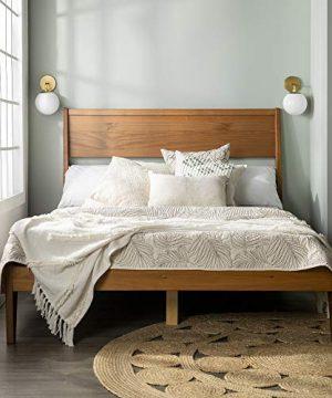 Walker Edison Mid Century Modern Wood Queen Headboard Footboard Platform Bed Frame Bedroom Caramel 0 300x360