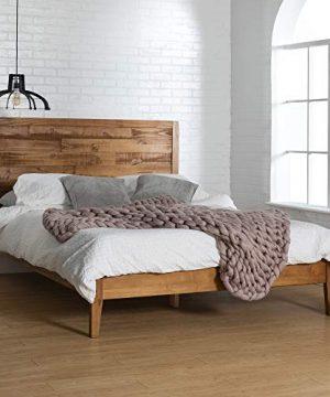 Walker Edison Mid Century Modern Wood Queen Platform Bed FrameHeadboard Footboard Bed Frame Bedroom Caramel BrownQueen 0 300x360