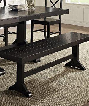 Walker Edison Solid Wood Black Dining Bench 0 300x360