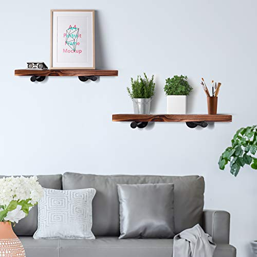 Wall Mounted Floating Shelves With Industrial Pipe Brackets Set Of 2 Solid Pine Wood Pipe Shelf Dark Walnut Color 236 Inch And 197 Inch Length X 75 Inch Wider 0 0
