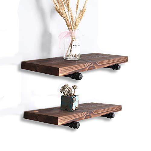 Wall Mounted Floating Shelves With Industrial Pipe Brackets Set Of 2 Solid Pine Wood Pipe Shelf Dark Walnut Color 236 Inch And 197 Inch Length X 75 Inch Wider 0 1