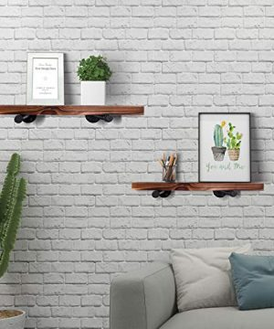Wall Mounted Floating Shelves With Industrial Pipe Brackets Set Of 2 Solid Pine Wood Pipe Shelf Dark Walnut Color 236 Inch And 197 Inch Length X 75 Inch Wider 0 2 300x360