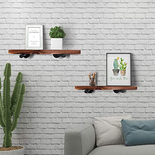 Wall Mounted Floating Shelves With Industrial Pipe Brackets Set Of 2 Solid Pine Wood Pipe Shelf Dark Walnut Color 236 Inch And 197 Inch Length X 75 Inch Wider 0 2