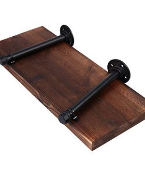 Wall Mounted Floating Shelves With Industrial Pipe Brackets Set Of 2 Solid Pine Wood Pipe Shelf Dark Walnut Color 236 Inch And 197 Inch Length X 75 Inch Wider 0 5 300x360