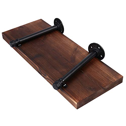 Wall Mounted Floating Shelves With Industrial Pipe Brackets Set Of 2 Solid Pine Wood Pipe Shelf Dark Walnut Color 236 Inch And 197 Inch Length X 75 Inch Wider 0 5