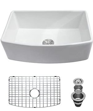 White Farmhouse Kitchen Sink GhomeG 30x19 Apron Front Fireclay Ceramic Porcelain Single Bowl Kitchen Sink With Protective Bottom Grid And Strainer 0 300x360
