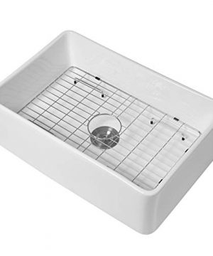 White Farmhouse Kitchen Sink Mocoloo 30x20x10 Inch Undermount Flat Apron Front Fireclay Single Bowl Farm Sink With Protective Stainless Gird And Strainer 10 Deep Basin With Offset Drain 0 300x360