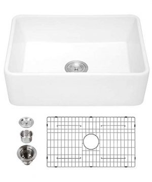 White Farmhouse Sink Kichae 30 Inch White Kitchen Sink Apron Front Reversible Ceramic Porcelain Fireclay Single Bowl Farm Sink 0 300x360